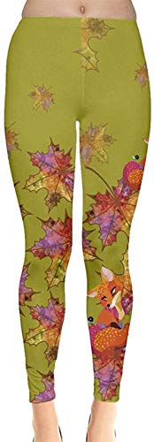Sunny R Frauen Stretch Strumpfhose Woodland Animals Autumn Fox Thema und Käse Muster Leggings Yoga Sporthosen L