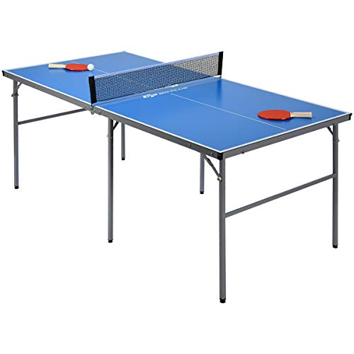 Goplus Portable Tennis Table, 100% Preassembled, Folding Ping Pong Table Game Set...