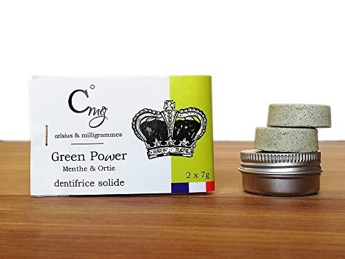 Dentifrice Solide Bio Menthe Poivrée Fabriqué en France + Boite de Transport - Green Power