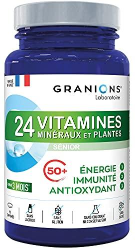 GRANIONS 24 VITAMINES, MINERAUX, PLANTES SENIOR - Vitamines A B C D3 E + oligo elements Zinc Magnesium + CoQ10 - Assimilation optimisée - 3 actions : IMMUNITE ENERGIE ANTIOXYDANT - 90 comprimés