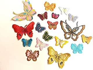 CraftbuddyUS 10 Iron On Stick On, Sew On Motifs, Craft, Sewing, Embroidery Patches, Assortment (Assorted Butterfly)