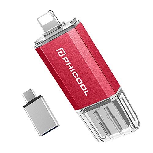 PHICOOL - Memoria USB de 128 GB, 4 en 1, almacenamiento externo para iOS 8.0 + iPhone iPad, USB C Android Samsung/HUAWEI/XIAO MI/ONEPLUS, PC MAC ordenador portátil, color rojo
