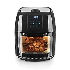 GOURTMETmaxx Digital XXL Hot Air Fryer 9 Liter| Frituren zonder vet, oven en roterende grill, incl. shashlik spiesjes | Hoogwaardig plastic [1800 watt/zwart]*