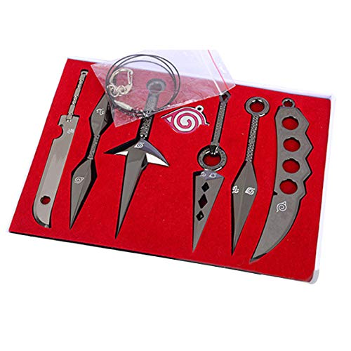 7 Pcs Cosplay Costume Accessories Naruto Ninja Weapon Metal Kunai Prop Konoha Leaf Village Shinobi Toy, Necklace