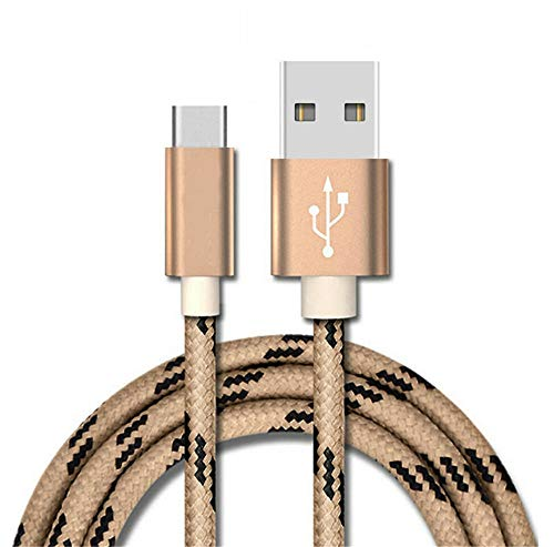 UGI 1 Paquete de Cable USB C de 0.25 m, Cable Trenzado de Nylon Tipo C Compatible con Samsung Galaxy S10 S9 S8 Plus Note 9 8, Moto Z, LG V30 V20 G5 y más, Dorado