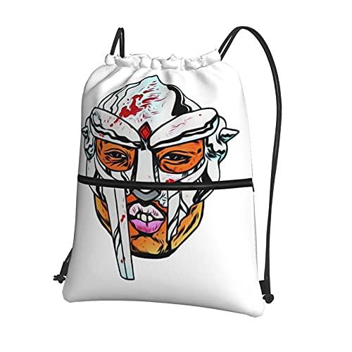Mf Doom - Bolsa de gimnasio con cordón y bolsillo interior con cremallera, bolsa de viaje deportiva repelente al agua, mochila ligera para hombres y mujeres