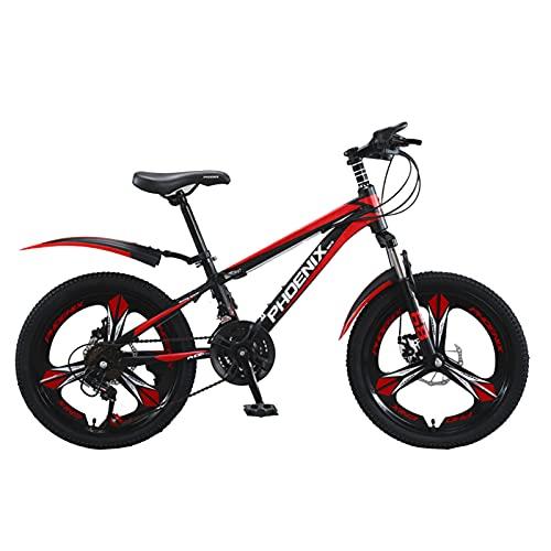 Axdwfd Infantiles Bicicletas Bicicleta para niños 18,20 Pulgadas, Bicicletas de Acero Altas de Carbono, Durante 7-14 años de Edad, Montar al Aire Libre, frenado (Color : Red, Size : 20in)