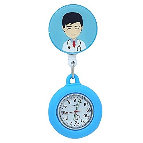 YYMY Reloj de Enfermera Médico,Reloj de Bolsillo con luz Nocturna de Silicona para Enfermera, Mesa Colgante para Trabajadores de atención médica, Azul 1