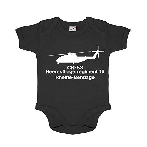 Baby Body HFlgRgt 15 Heeresfliegerregiment Rheine-Bentlage Bundeswehr #32485, Farbe:Schwarz, Größe:6-12 Monate