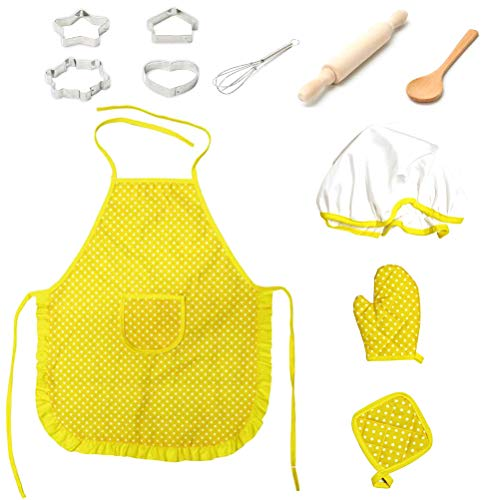 Ourine 11 TLG. Kinderkochset, 11 TLG. Kinderkochset Kinder Kochen Spielküche wasserdicht Backschürzen Ofenhandschuh Schneebesen Mädchengeschenk gelb