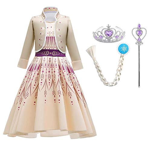 OBEEII Disfraz de princesa Elsa Anna para nia, disfraz para carnaval, fiesta para Navidad, Halloween, cosplay, fiesta, disfraz de 4 a 14 aos Amarillo 2 + accesorios. 10-11 aos