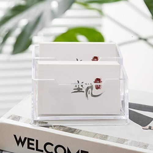 Porta biglietti da visita in acrilico , Digead 2 tasche Porta biglietti da visita trasparente da scrivania Porta carte da scrivania in plastica rigida per desktop
