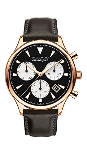 Movado Mens Heritage Rose Gold Chronograph Watch with Printed Index, Black/Brown/Pink/Gold (3650021)