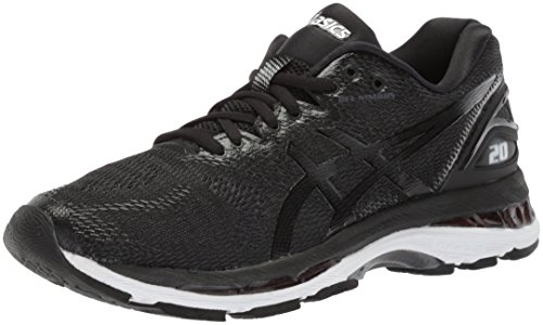ASICS Women's Gel-Nimbus 20 Running Shoe, black/white/carbon, 5 Medium US