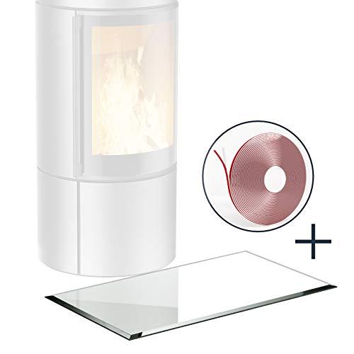 BIJON Glasplatte für Kaminofen Rechteck mit Dichtlippe Glasbodenplatte - Funkenschutzplatte Glas | Kamin Hitzeschutz | 30 x 130 cm – 6 mm ESG Kamin-Bodenplatte