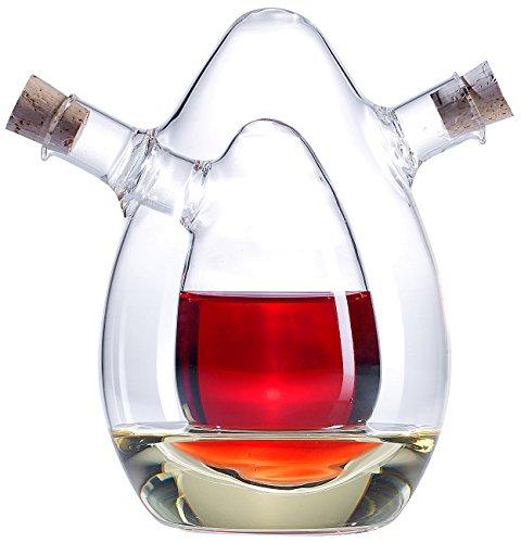 Rosenstein & Söhne Ölspender: 2in1-Essig- und Öl-Spender aus Glas (Olivenöl Spender)