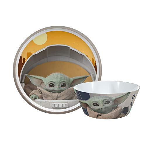 Zak Designs Star Wars The Mandalorian Dinnerware Set Includes Plate and Bowl Made of Durable Melamine and Perfect for Kids Baby YodaThe Child 2-Piece Set BPA-Free