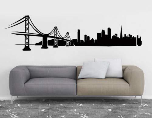 Tianpengyuanshuai San Francisco City Skyline Silhouette Wandtattoo Vinyl Kunst Aufkleber für Büro Schlafsaal 36X146cm
