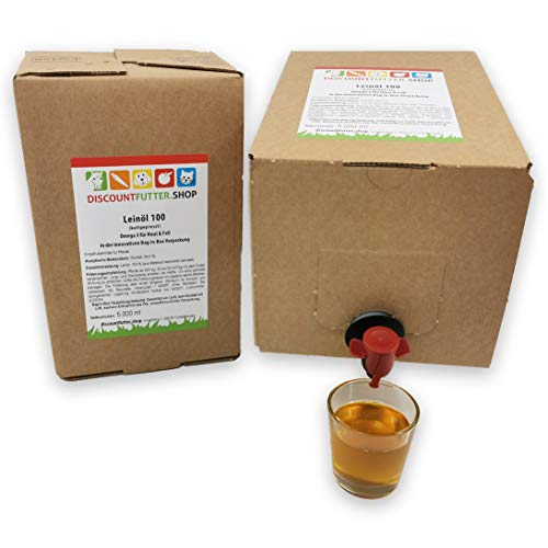 discountfutter.shop Leinöl 100 Bag in Box - NEU! (2 x 5 Liter) für Pferde | kaltgepresst
