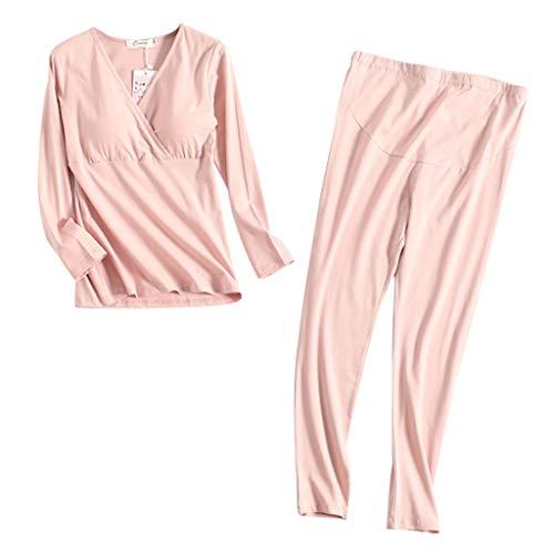HULKY Femme Ensemble De Pyjama dallaitement Maternit/é Coton Manches Longues Haut Et Pantalons Grossesse V/êtements Nuit Chemise Set Femmes Wrap Front Nightshirt Allaitement