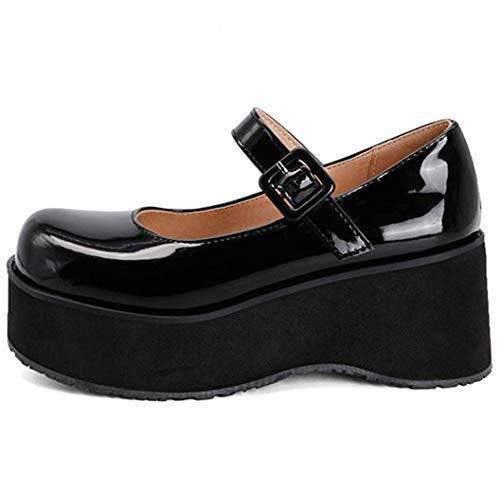 AOSPHIRAYLIAN Mary Jane Lolita - Zapatos de vestir para mujer con plataforma y correa al tobillo, (1Negro), 43 EU