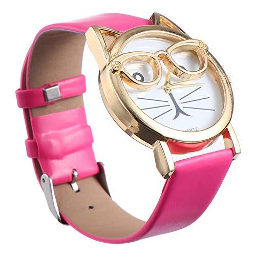 UKCOCO Cute Cat Watch Analog Quartz Women Reloj de Pulsera con Correa de Reloj de Cuero Fashion Watch for Cat Lover Rosy