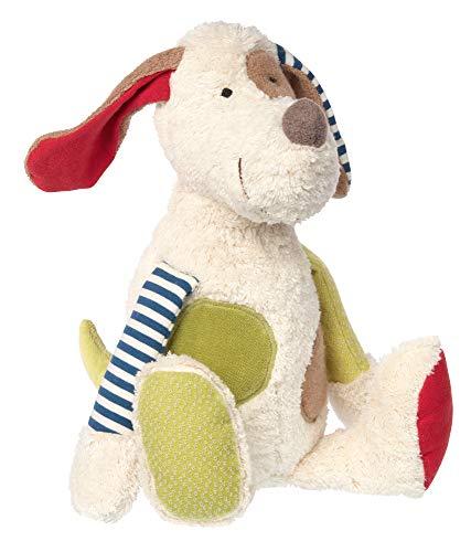 Sigikid 38764 Mädchen und Jungen, Stofftier Hund, Patchwork Green, Weiß/Mehrfarbig, 38764