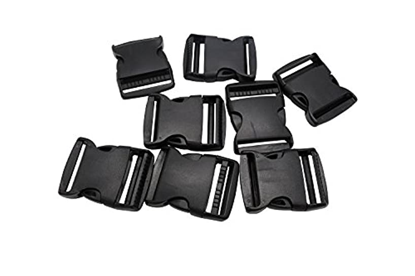 JustThread Flat Side Plastic Buckles - 3/8 5/8 3/4 1 1.25 1.5 2 inch - Multi-Color, Black - Bulk Value Packs - Suitable for Crafts & DIY (2 inches (pack of 30), Black)