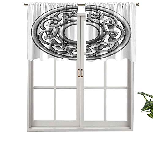 Hiiiman Window Curtain Light Filtering Rod Pocket Valance Royal Style Circular Celtic Pattern Graphic Print Metal Brooch, Set of 2, 42'x24' for Bedroom, Kitchen Or Bathroom Windows