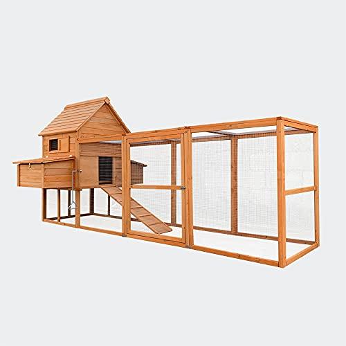 Wiltec Hühnerstall rotbraun 310x150x150cm, Holz, Nistkästen & Freilauf, ausziehbare Schale für Reinigung