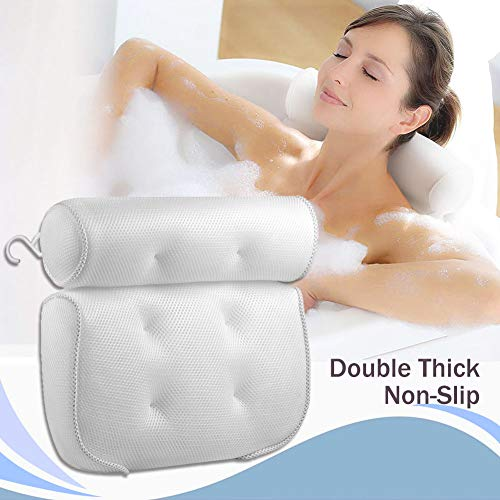 Bath Pillow for Tub Neck and Back Support 3D Air Mesh Spa Bathtub Pillows with 6 strong Suction Cup