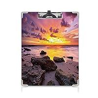 屋外スケッチポータブルスケッチクリップ 熱帯 ファイルボード (2パック)島の魔法の牧歌的な天気の風景モーブサーモンライラックのビーチの地平線に沈む夕日