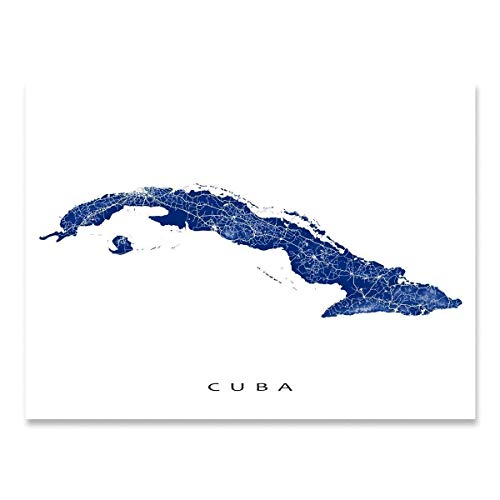 Cuba Map Wall Art Print 8x10, Cuba Poster 24x36, Handmade Topographic Cuba Decorations for Home, Havana, Caribbean Island, Cuba Gifts by Maps As Art