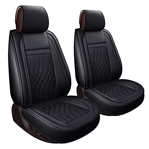 LUCKYMAN CLUB 2 Front Seat Covers fit for Ford F150 from 2009 to 2020 and fit for F250 F350 F450 from 2011 to 2020 with Faux Leather (Black 2 PCS)