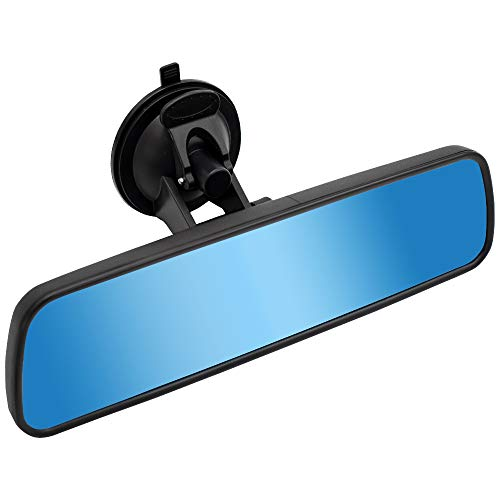 LECAMEBOR Anti-Glare Rear view mirror,Universal Thickened anti-glare blue Car Interior Rear view Mirror-(With Adjustable suction cup )