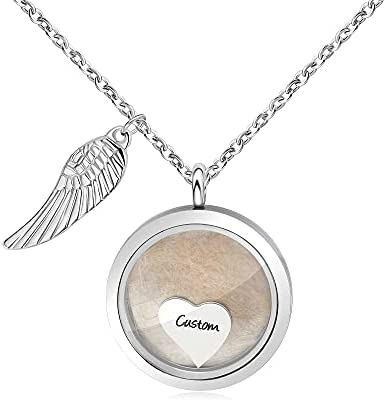 Pet Memorial Locket for Women Girls Sympathy Remembrance Memory Jewelry Gifts for Loss of Dogs Cats Lovers Stainless Steel Glass Floating Necklaces for Ashes Fur Personalized Pet Name Necklace