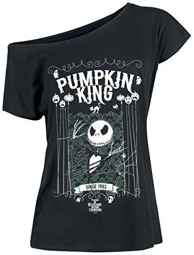Pesadilla Antes De Navidad Jack Skellington - Pumpkin King Mujer Camiseta Negro S, 100% algodón, Ancho