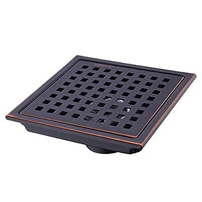 HANEBATH 6 Inch Square Shower Floor Drain with Removal Grate,Oil Rubbed Bronze