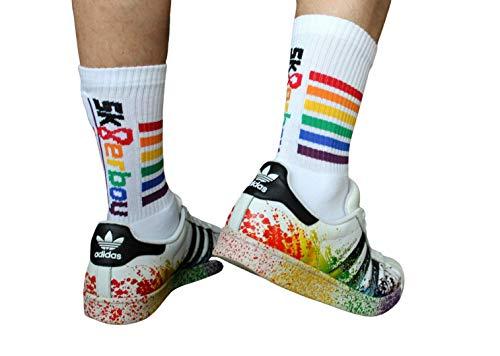 Sk8erboy Gay Pride Rainbow Socken, Gay Pride Socks, Sneakersocken, Made in Germany, Weiss/Regenbogen, 1 paar