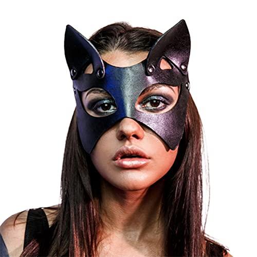 Kehyes Mscara de Halloween sexy de piel sinttica con remaches de ojos de gato, accesorio para disfraz de Halloween
