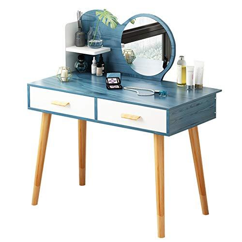 Tocador con Espejo Mesa de Maquillaje Modern HomeVanity Set con espejo redondo iluminado, tocador de maquillaje de madera, tocador, escritorio con 2 cajones y patas de taburete de madera maciza para