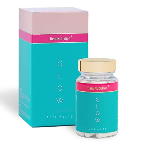 BeauNutrition - Glow Anti Aging Kapseln - hochdosiert Hyaluronsäure, Kollagen, Q10, Acai, Vitamin B Komplex, Zink