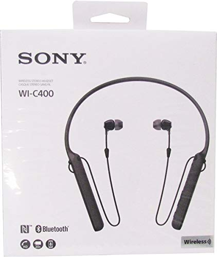Sony WIC400/B Behind-The-Neck – Auriculares in-Ear, inalámbricos, Color Negro