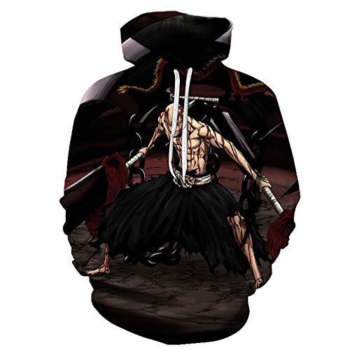 Kapuzenpullover Anime 3D Druck Madarame Ikkaku Hoodie Japanischer Anime Pullover mit Taschen Maschinenwaschbar, wird nicht verblassen und schrumpfen, M