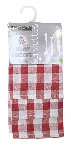 Soleil d'ocre Lote de 3 servilletas de algodón Carreaux NORMANDS Rojo, Jacquard 45 x 45 cm
