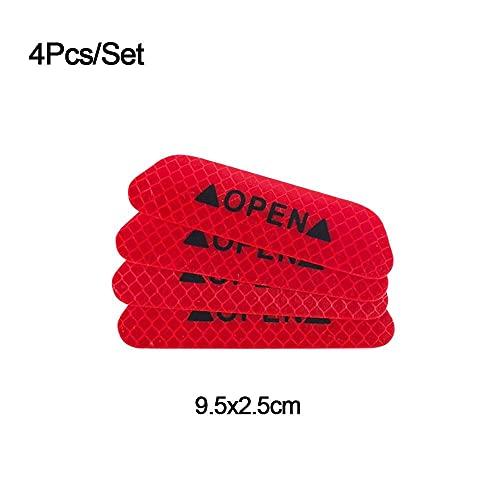 JKGHK 4pcs / set pegatinas para puerta de coche universal reflectante cinturón de coche cinta autoadhesiva reflectante advertencia abierta marca roja