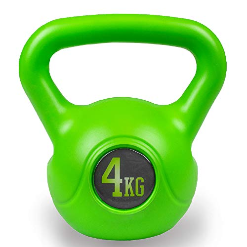 Phoenix Fitness RY930 Vinyl Kettlebell - Heavy Weight Kettle Bell for Strength and Cardio Training, Green, 4KG