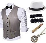 Coucoland 1920s Accessoires Herren Mafia Gatsby Kostüm Set inklusive Panama Gangster Hut Herren...