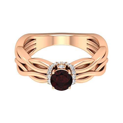 Anillo de granate solitario de 3/4 quilates, 1/3 quilates, halo de diamante HI-SI, anillo de compromiso de oro (granate redondo de 5 mm), 14K Oro rosa, Size:EU 63