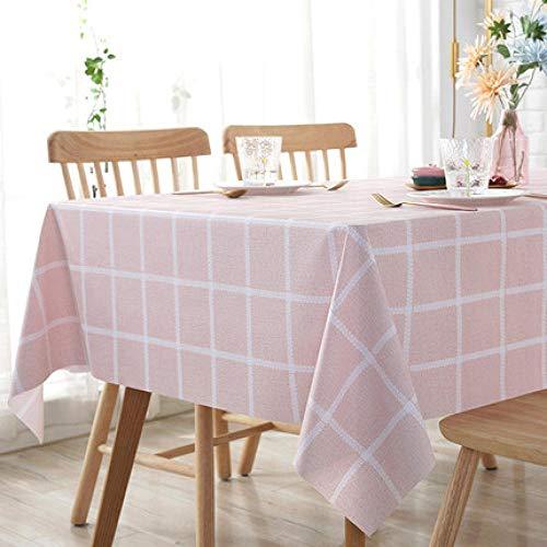Traann tafelkleed, kunststof, schoon afwasbaar, vierkant, schoon, tafelkleed, rechthoekig, waterbestendig, vinyl, voor tuin, keuken buiten of binnen, geruit, roze